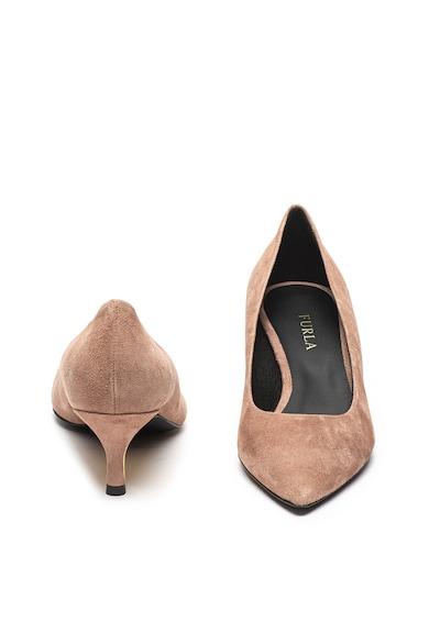 Furla Eva törpesarkú nyersbőr cipő fém kiegészítővel női