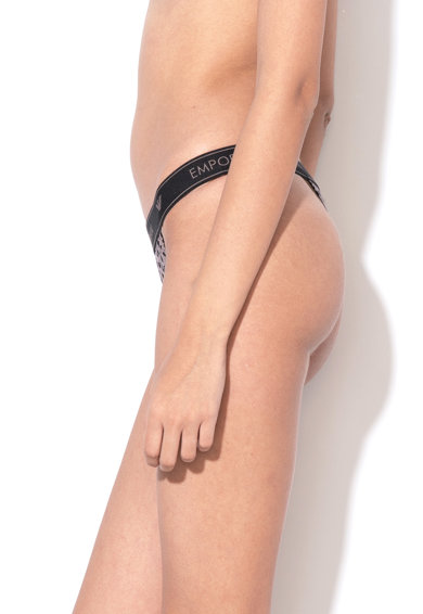 Emporio Armani Underwear Chiloti tanga cu model in dungi si banda elastica cu logo Femei
