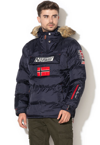 Geographical Norway Geaca fara inchidere, cu aplicatie logo Bilboquet Barbati