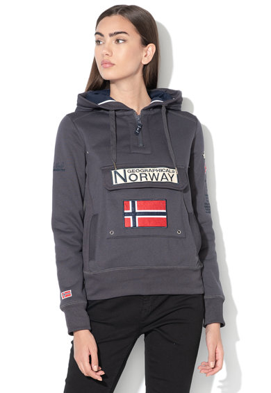 Geographical Norway Hanorac cu buzunar frontal si captuseala din fleece Gymclass Femei