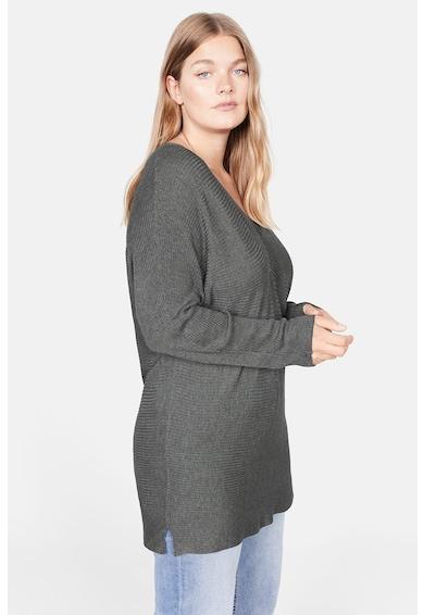 VIOLETA BY MANGO Рипсен пуловер с шпиц деколте Жени