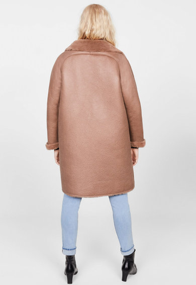 VIOLETA BY MANGO Palton de piele ecologica cu captuseala de blana sintetica Pelito Femei