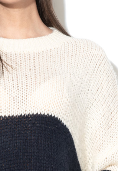 Vila Pulover tricotat din amestec de lana cu model colorblock Violet Femei