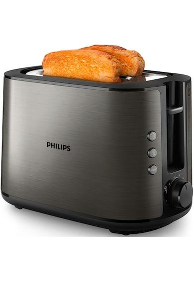 Philips Prajitor de paine  HD2650/80, 950W, incalzitor de chifle, functie dezghetare, reincalzire, tavita de firimituri detasabila, 8 setari de prajire, Negru metalizat Femei