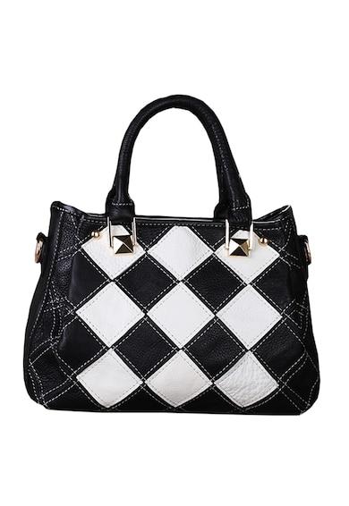 Pellearts női táska, Fonott bőr, Fekete és Fehér női