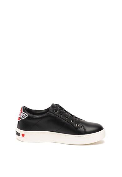 Love Moschino Pantofi sport de piele cu aplicatii Femei