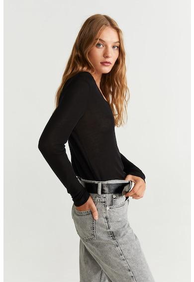 Mango Bluza din tricot fin, cu decolteu in V Pico Femei
