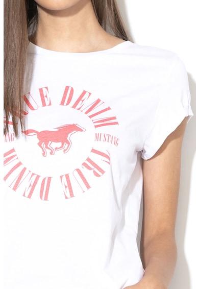 Mustang Tricou cu imprimeu logo si maneci tip aripioara Femei
