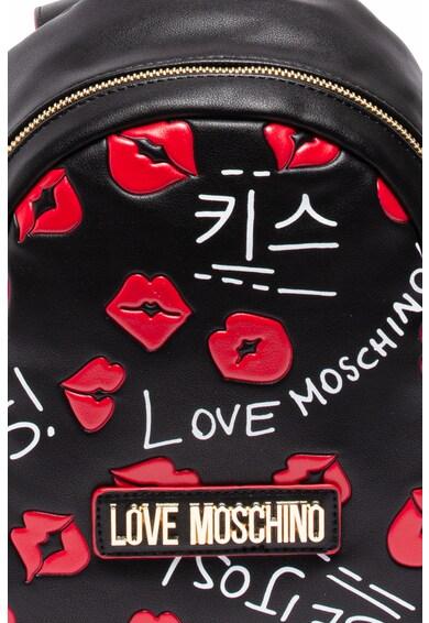 Love Moschino Rucsac mic de piele ecologica, cu model text si kiss Femei