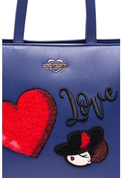 Love Moschino Geanta shopper de piele ecologica, cu aplicatii grafice Femei