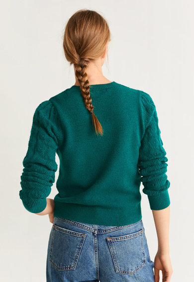 Mango Pulover tricotat, cu detalii perforate Peonia Femei