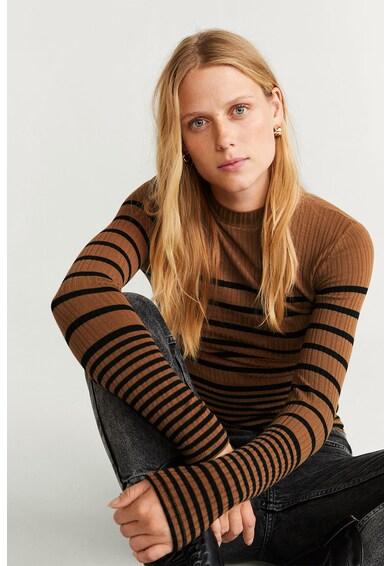 Mango Pulover din tricot cu model in dungi si striatii Nuan Femei