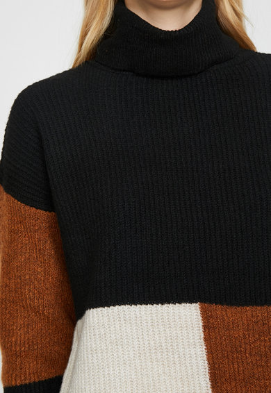 KOTON Pulover cu guler inalt si model colorblock Femei