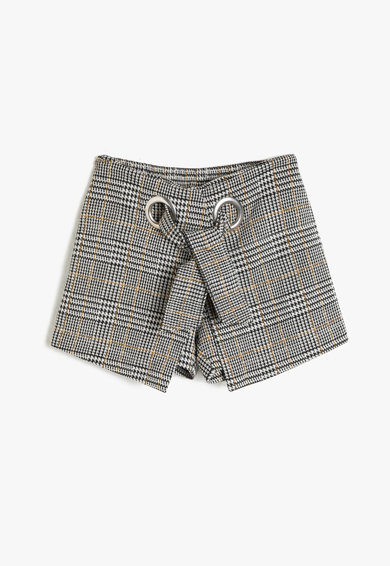 KOTON Pantaloni scurti cu model in carouri si snur Fete