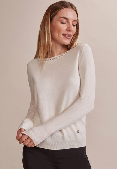 Oltre Pulover tricotat fin, cu detalii cu perle sintetice Femei