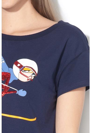 Love Moschino Tricou cu imprimeu grafic si aplicatii de paiete Femei