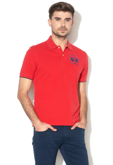 LA MARTINA Tricou polo regular fit cu logo brodat, CCMP01-PK001 Barbati