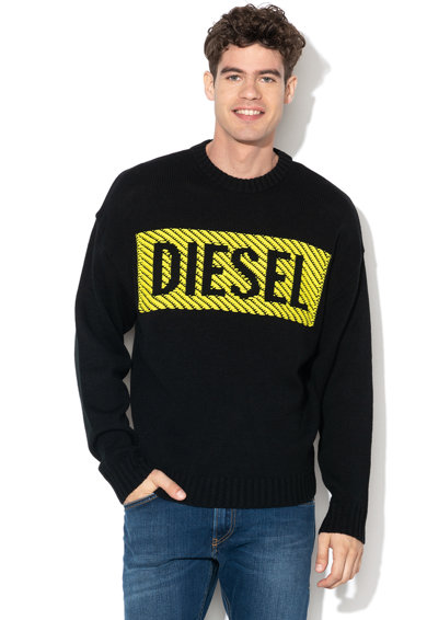 Diesel Gyapjútartalmú pulóver kontrasztos logómintával férfi