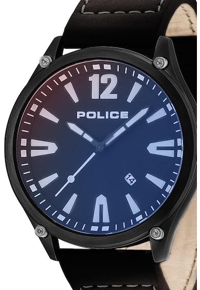 Police Ceas analog rotund cu o curea de piele Barbati