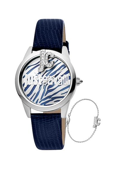 JUST CAVALLI Set de ceas quartz cu cadran decorat cu zirconia si bratara Femei