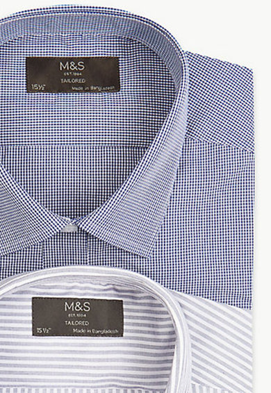 Marks & Spencer Set de camasi slim cu model in dungi si carouri- 2 piese Barbati