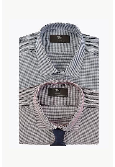 Marks & Spencer Set de camasi slim fit in carouri - 2 piese Barbati