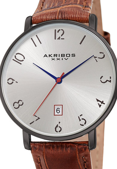 AKRIBOS XXIV Ceas rotund cu o curea din piele 76 Barbati