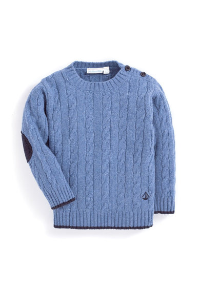JoJo Maman Bebe Пуловер с вълна и плетка осморка Момчета