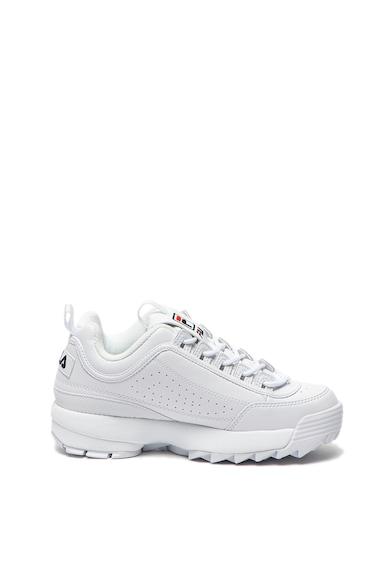 Fila Pantofi sport de piele ecologica, cu talpa masiva cu striatii Disruptor, Alb, Femei