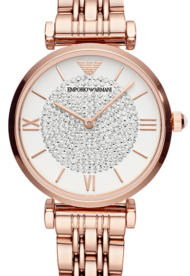 Emporio Armani Часовник от инокс с кристали Жени