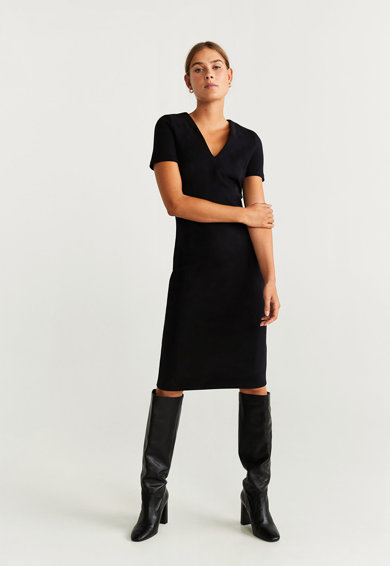 Mango Susan V-nyakú műbőr ruha női