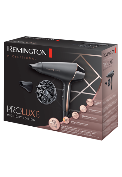 Remington Uscator de par  AC9140B OPTIheat Proluxe Midnight Edition, 2400 W, Afisaj digital integrat, 2 setari de viteza, Concentrator, Negru Femei