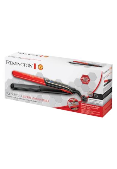 Remington Placa de par  S6755 Sleek & Curl Manchester United Edition, 230 grade, Black Titanium Ceramic, Timp incalzire 15 sec, Functie Boost, Rosu/ Negru Femei