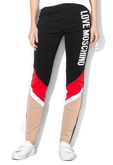 Love Moschino Pantaloni din jerseu cu model colorblock si logo W-1-491 Femei