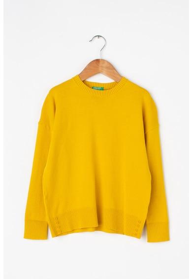 United Colors of Benetton Pulover din tricot fin cu nasturi decorativi Fete