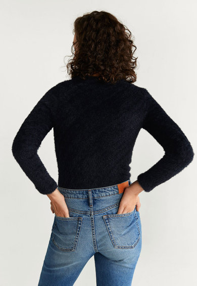 Mango Пуловер Anie с пухкав ефект Жени