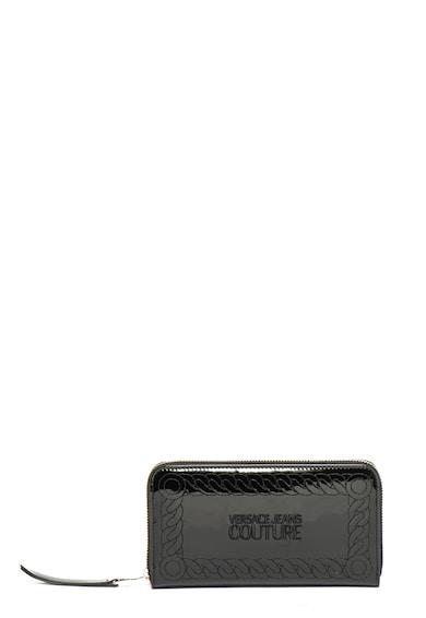 Versace Jeans Couture Portofel cu aspect lacuit, cu fermoar si broderii Femei