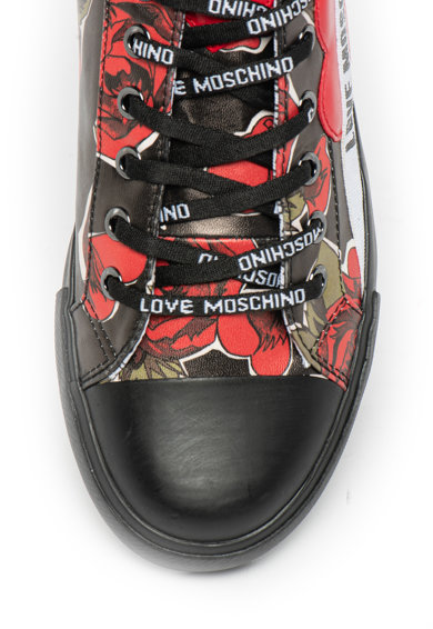 Love Moschino Tenisi de piele ecologica, cu model trandafir Femei