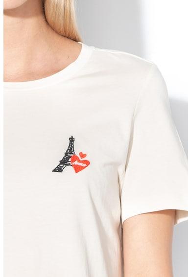 Vero Moda Tricou din bumbac organic, cu detaliu brodat Aida Olly Femei