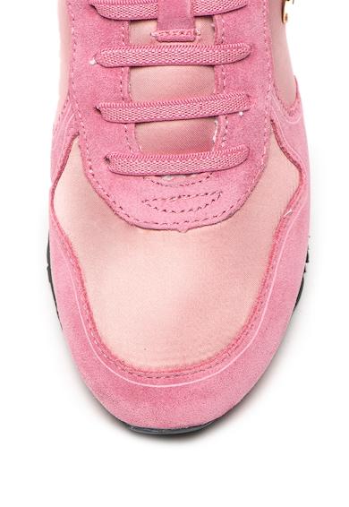 Guess Pantofi sport de satin si piele intoarsa, cu aplicatie logo Fete