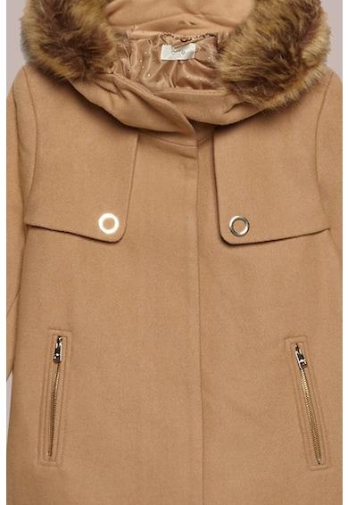 Oltre Jacheta din amestec de lana, cu gluga si garnitura de blana sintetica Femei