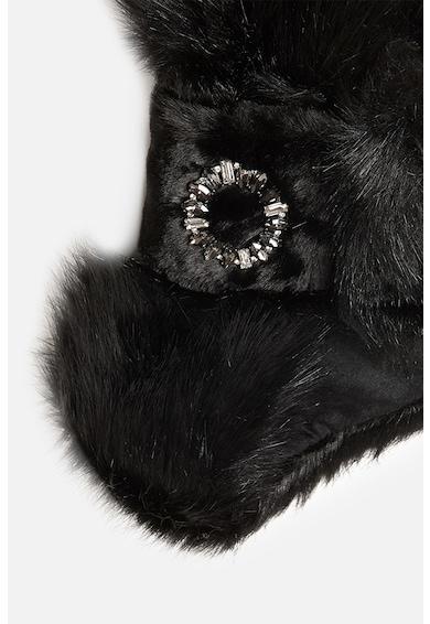 Motivi Etola din blana sintetica cu brosa decorativa Femei
