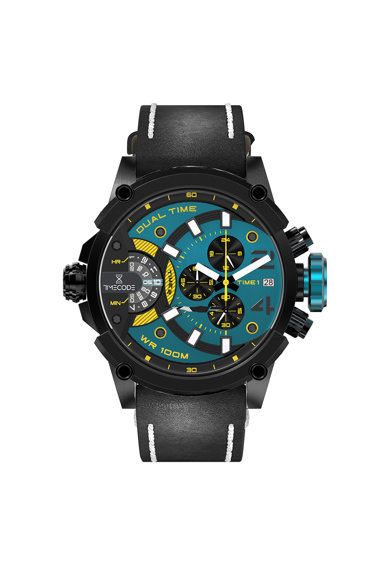 Timecode Ceas cronograf cu o curea din piele Barbati