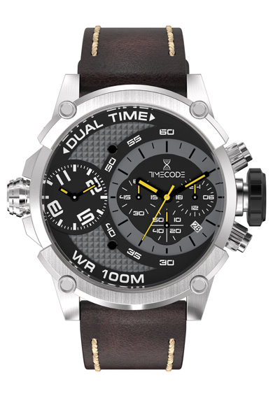 Timecode Ceas cronograf cu o curea de piele Barbati