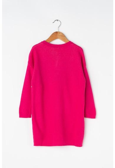 United Colors of Benetton Rochie tip pulover, din amestec de lana, cu model text Fete