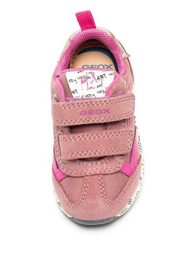 Geox Pantofi sport cu garnituri de piele intoarsa Alben Fete