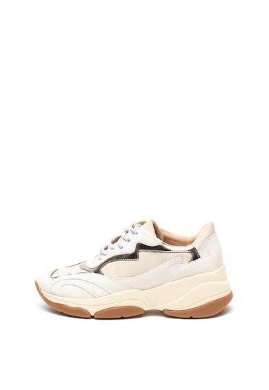 Geox Pantofi sport din piele cu detalii metalizate Kirya Femei