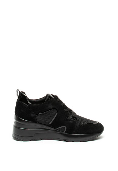 Geox Pantofi sport din piele intoarsa si plasa, cu talpa wedge Zosma Femei