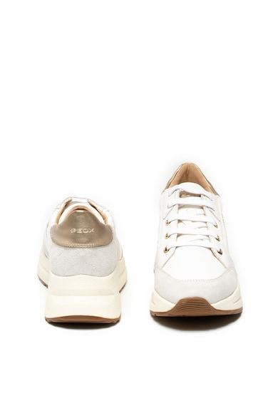 Geox Pantofi sport de piele ecologica si piele intoarsa, cu cusaturi decorative Backsie Femei