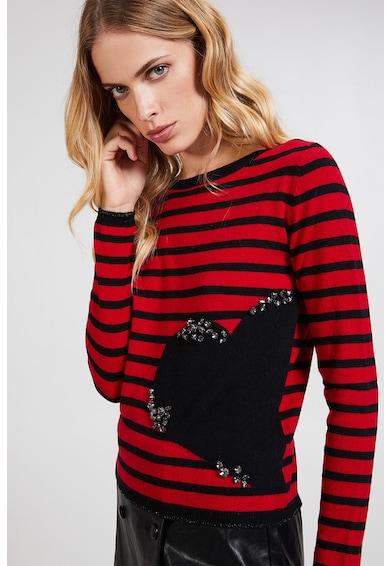 Motivi Pulover din amestec de lana si casmir cu dungi si strasuri Femei